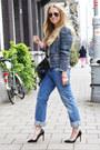 Periwinkle-diesel-jeans-blue-isabel-marant-jacket-black-balenciaga-purse