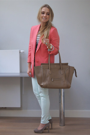 coral Stella McCartney blazer - camel Celine purse - white H&M top