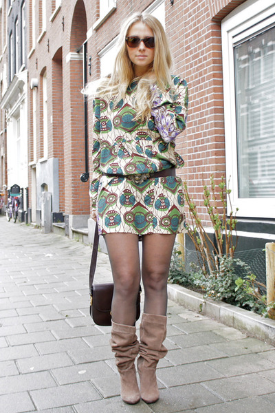H&M boots - Marni at H&M dress - vintage Celine purse