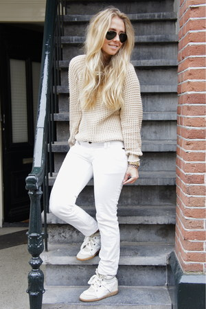 white Isabel Marant sneakers - beige Isabel Marant sweater - white Zara pants