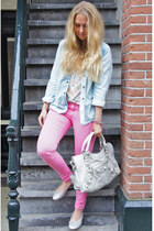 bubble gum Zara jeans - maison scotch jacket - balenciaga purse - SANDRO top