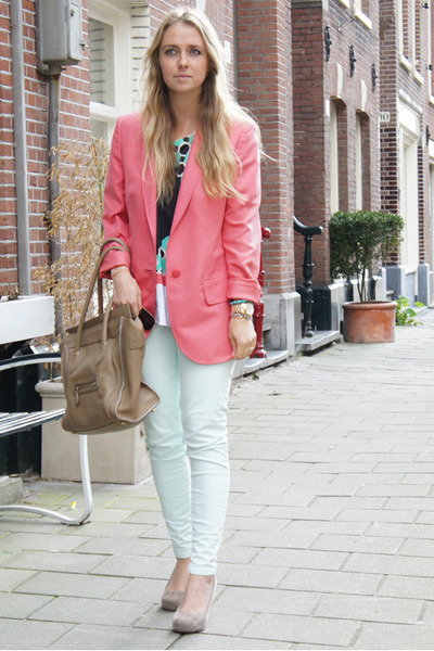 salmon Stella McCartney blazer - camel Celine purse - aquamarine Marni t-shirt
