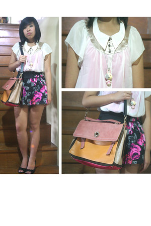 bubble gum satchel Hermes bag - black floral thrifted skirt