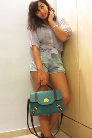 teal bag - light blue jeans shorts - brown Nine West flats - periwinkle blouse