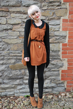 wedge new look boots - Topshop dress - H&M leggings - satchel vintage bag