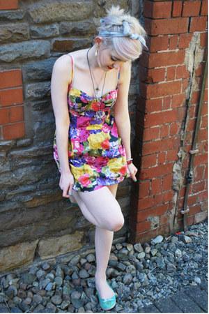 hot pink floral Topshop dress - light blue sailor Primark pumps - heather gray a