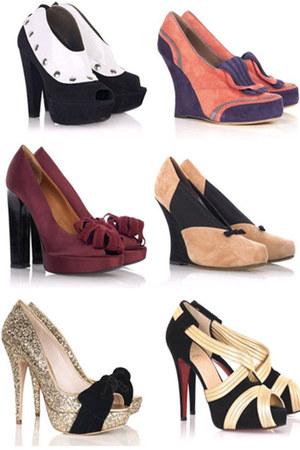 maroon flower Lavin heels - amethyst suade Tabitha Simmons wedges - black bw Mar