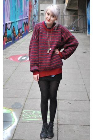 brick red knitted vintage jumper