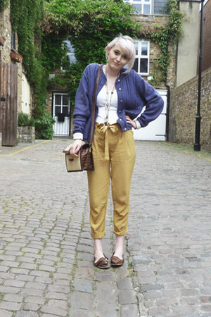 paper bag Urban Outfitters pants - knitted charity shop cardigan - loafers flats