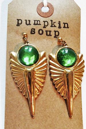 chartreuse plastic Pumpkin Soup earrings