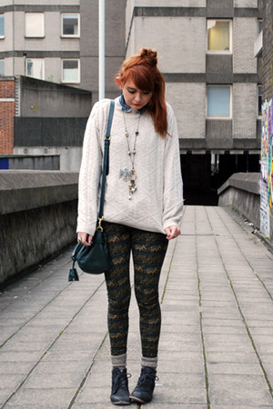 forest green elephant print Urban Outfitters leggings - teal Mulberry bag