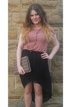 black dipped hem new look skirt - beige studded clutch Primark bag