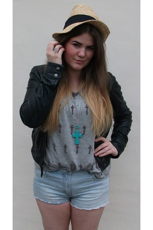 leather Topshop jacket - new look hat - Internacionale shorts