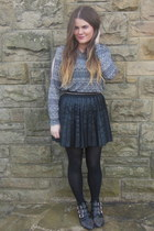 black studded Office boots - black pleated Primark skirt
