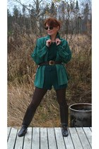 green cotton shorts - dark brown boots - forest green silk shirt