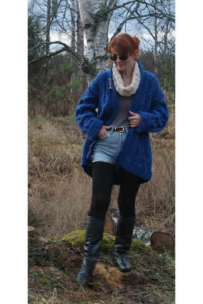 blue wool cardigan - black leather boots - cream wool scarf - dark brown bag