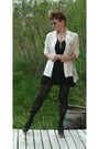 Black-tights-cream-wool-jacket-ivory-leather-bag-eggshell-leather-belt