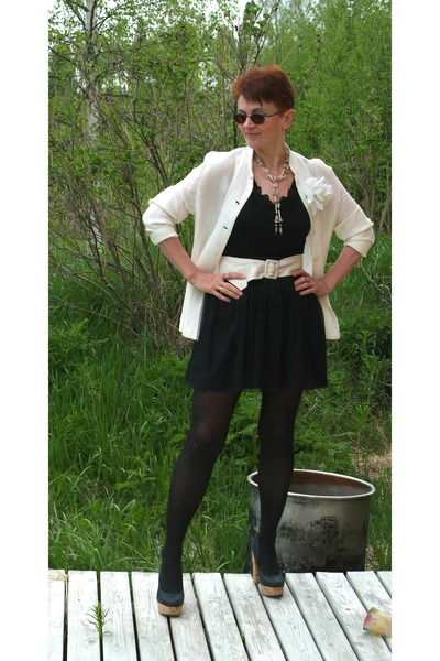 black tights - cream wool jacket - ivory leather bag - eggshell leather belt