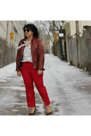 leather danier jacket - wool red Jcrew pants - leopard print Nine West pumps