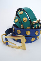 Vintage Leather and Gold Lion Stud Belt