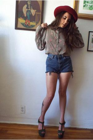 light brown sheer chiffon vintage blouse - navy vintage cutoff Levis shorts