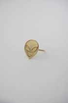 I Want to Believe Faux Gold Alien Face Midi Ring
