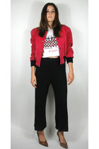 Vintage Cropped Red Suede Varsity Jacket