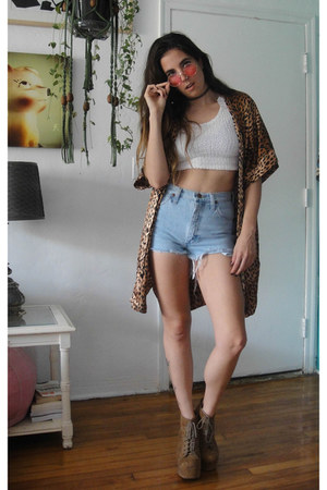 light blue vintage shorts - brown litas Jeffrey Campbell boots