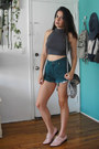 Light-blue-denim-vintage-bag-teal-levis-shorts