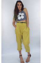 Vintage 80s High-Waisted Mustard Yellow Paper Bag Jeans