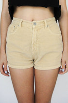 Vintage 90s High-Waisted Tan Corduroy Shorts -- Size 26