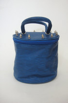 Vintage 80s Spiked Blue Bucket Purse