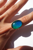 Vintage 70s Gold Plated Oval Rope Design Mood Ring