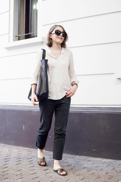 Dark-gray-acne-jeans-ivory-the-kooples-shirt-black-celine-bag