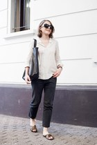 black Celine bag - dark gray acne jeans - ivory The Kooples shirt