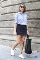 light blue Gap shirt - black Celine bag - black ray-ban sunglasses