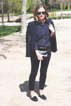 black ray-ban sunglasses - navy The Kooples blazer - navy Topshop shirt