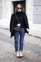 black The Kooples coat - blue MIH Jeans jeans - black Petit Bateau sweater
