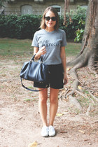 black Wood Wood shorts - navy Louis Vuitton bag - black ray-ban sunglasses