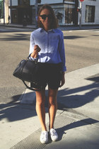 black Wood Wood shorts - light blue Club Monaco shirt - navy Louis Vuitton bag