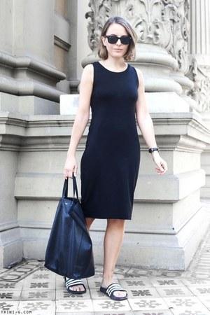 black Gap dress - black Celine bag - black Ray Ban sunglasses