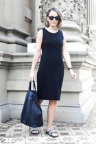 black Gap dress - black Celine bag - black Ray Ban sunglasses
