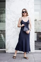 navy Organic by John Patrick dress - black Mansur Gavriel bag