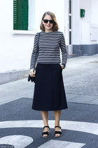 navy Celine bag - black ray-ban sunglasses - navy COS skirt