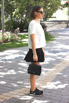 black Anya Hindmarch bag - black Marc Jacobs sunglasses - white The Kooples top