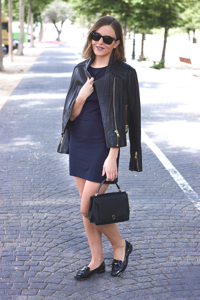 navy Filippa K dress - black The Kooples jacket - black Anya Hindmarch bag