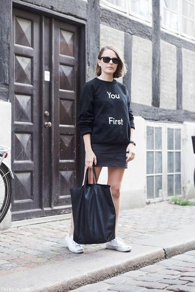 black Celine bag - black Ray Ban sunglasses - dark gray American Apparel skirt