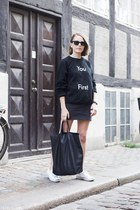 black Celine bag - black Ray Ban sunglasses - dark gray American Apparel skirt