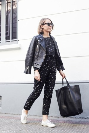 black The Kooples jacket - black Celine bag - black Ray Ban sunglasses