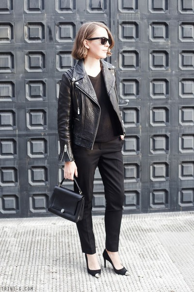 black The Kooples jacket - black Anya Hindmarch bag - black Ray Ban sunglasses